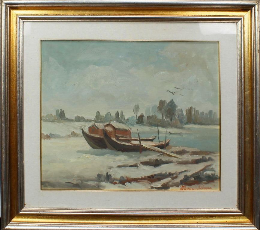 Lotto 57 - Scorcio del lago e barche, Maccabruni, olio, cm. 60x50