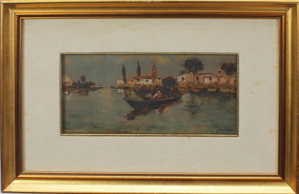 Lotto 4 - Scorcio di Chioggia, coppia, firmati Frattini, oli, cm. 22x11