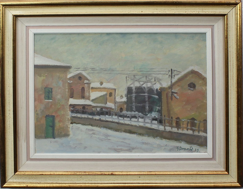 Lotto 25 - Il gasometro, Donati, olio, cm. 46x35