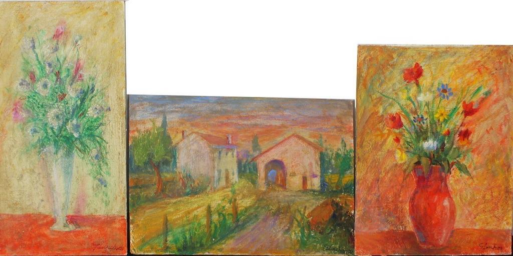 Lotto 50 - Fiori e paesaggio, lotto di 3 dipinti, Lucchini