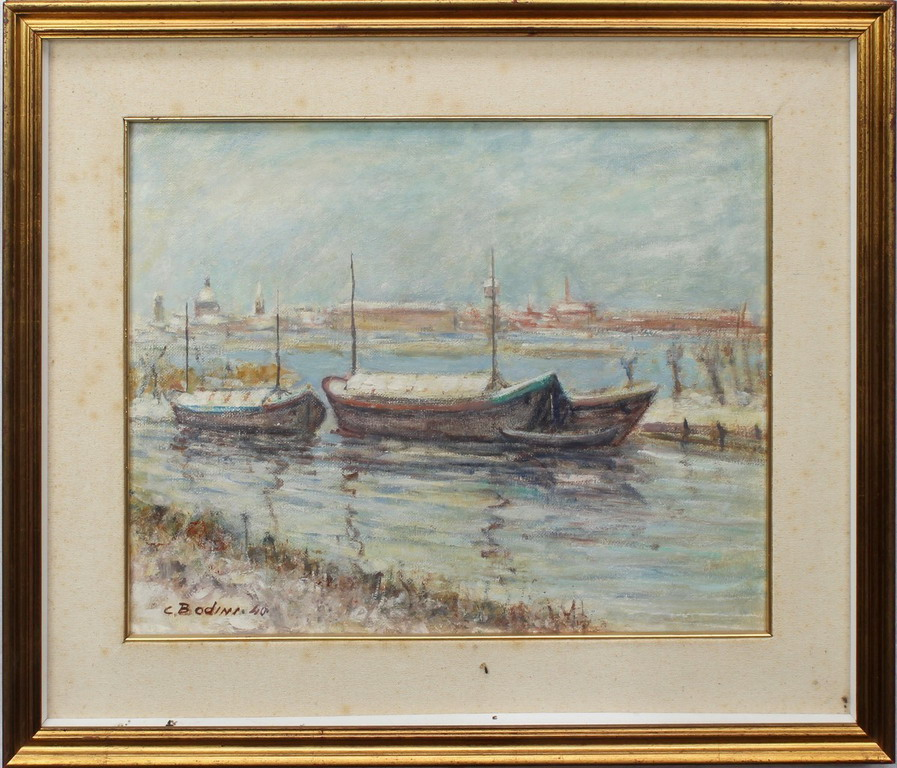 Lotto 9 - Barconi sul lago, Bodini, olio, cm. 48x38
