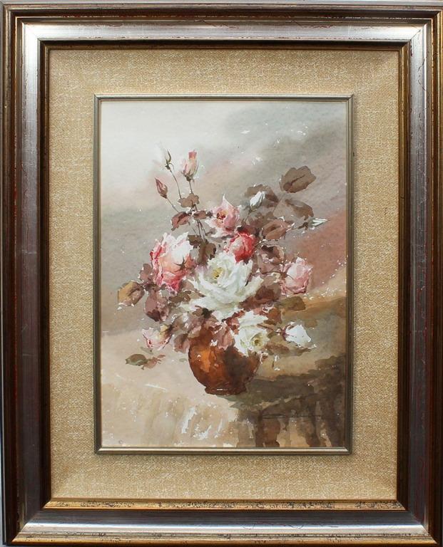 Lotto 17 - Vaso di rose, Corniani, acquerello, cm. 36x50