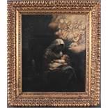 Hans Thoma (1839-1914)Die heilige Familie bei der Ruhe auf der Flucht.Öl auf Pappkarton gemalt,