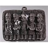Afrikanische Kunst, Bronze, BeninBronze Reliefplatte, Darstellung: Wächter des königlichenHofes.