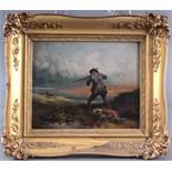 Jäger mit Hund beim Hasenschießen, 19. Jh.Öl auf Leinwand gemalt, unsigniert,