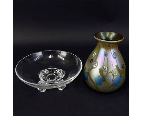 Grouping of Two (2) Vintage Tableware. Includes: Steuben crystal footed dish and Carl Radke art glass vase. Signed. Vase meas