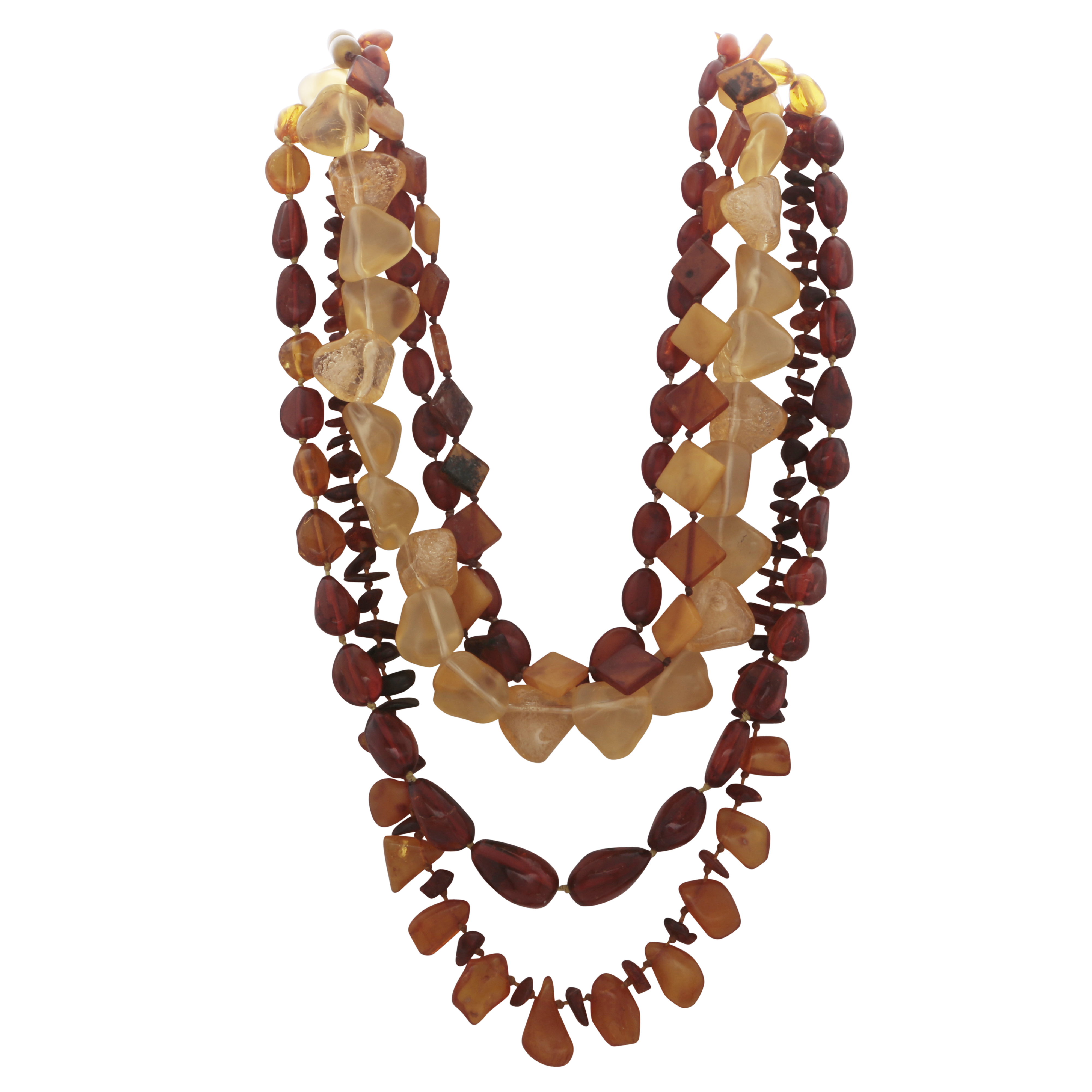 Los 157 - Five amber bead necklaces in varying styles.