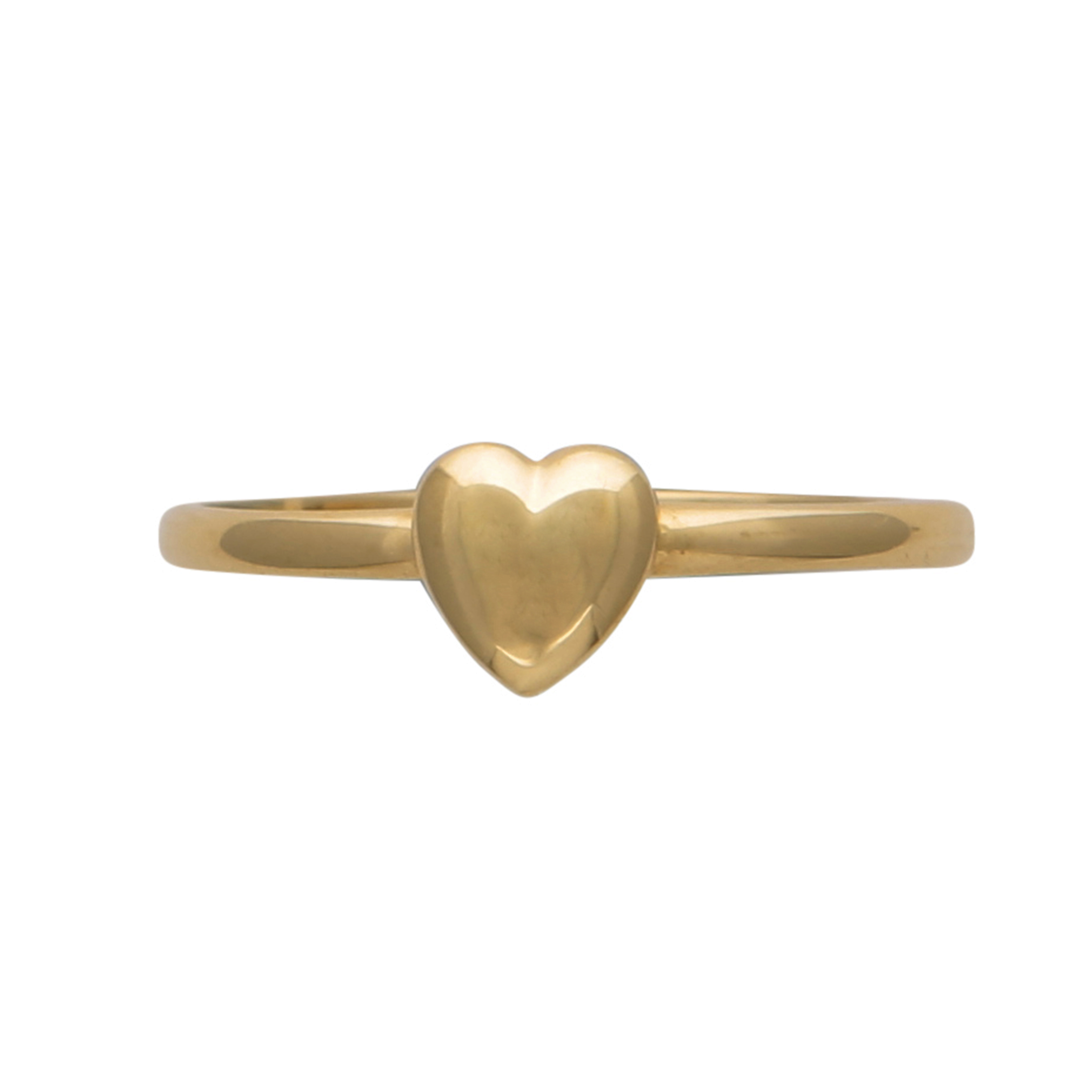 Los 215 - A Pandora style heart charm ring in 14ct yellow gold, designed as a single heart charm measuring 5.
