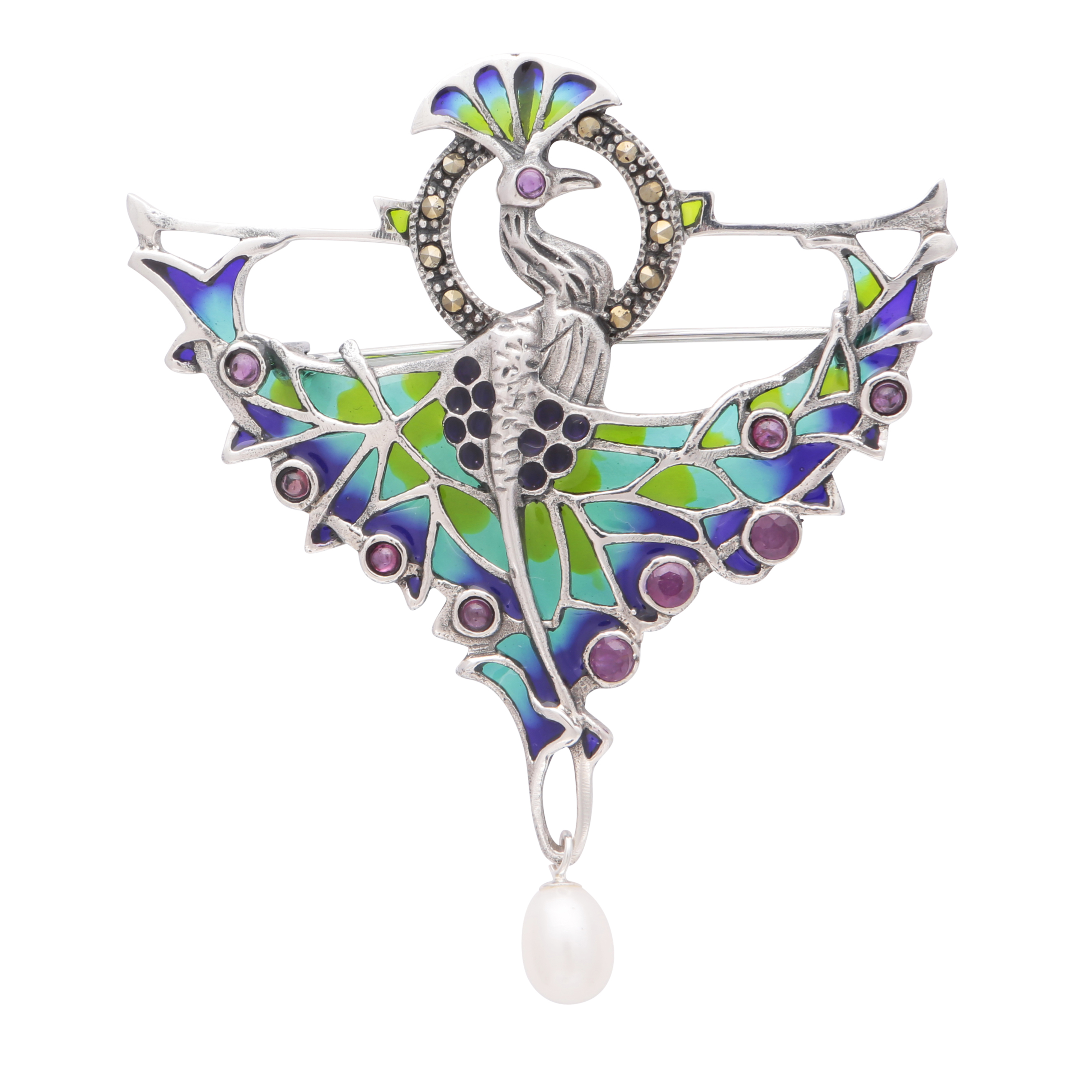 Los 173 - A plique a jour enamel and pearl pendant / brooch in sterling silver depicting a peacock with its