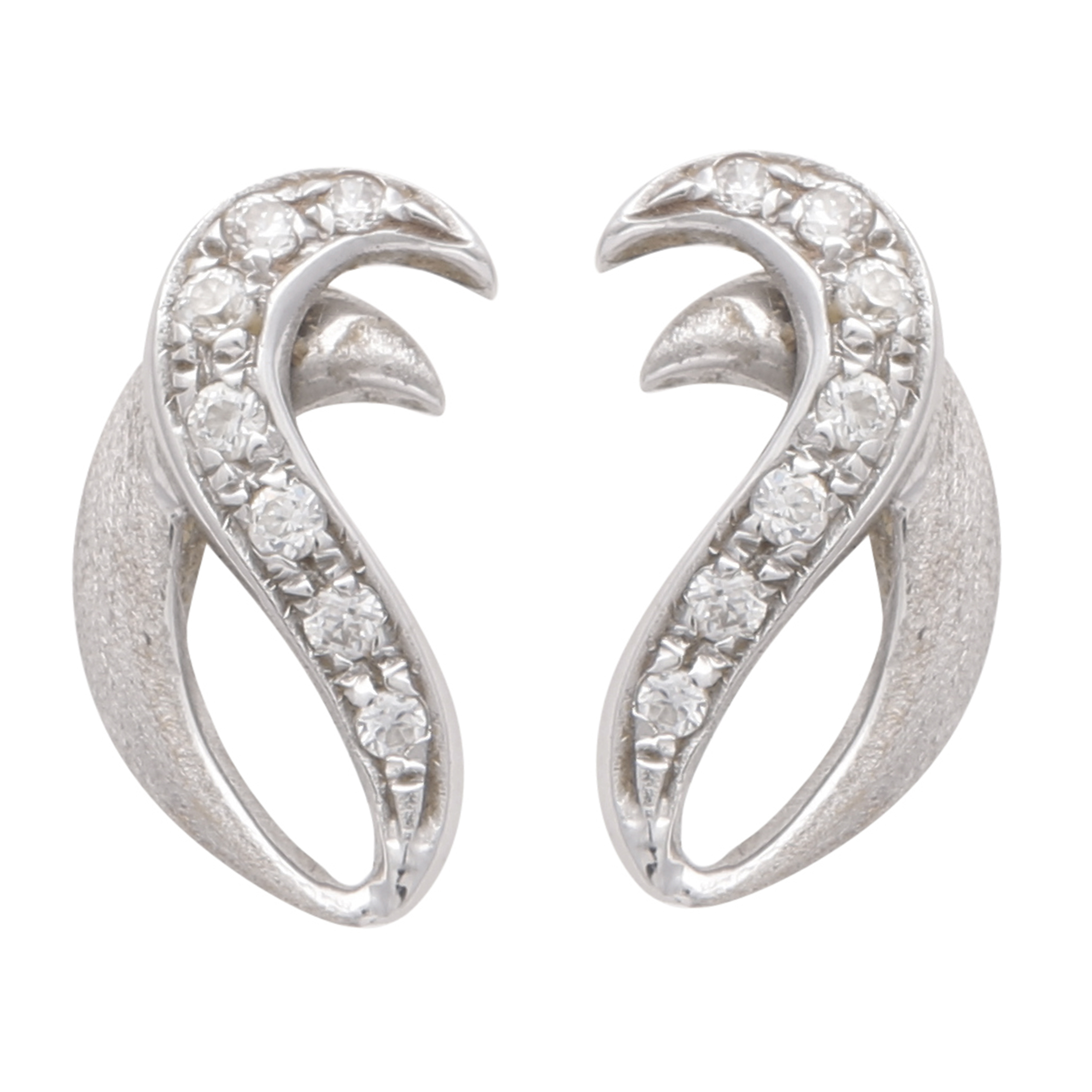 Los 203 - A pair of Italian gem set stud earrings in 18ct white gold, each designed as two overlapping