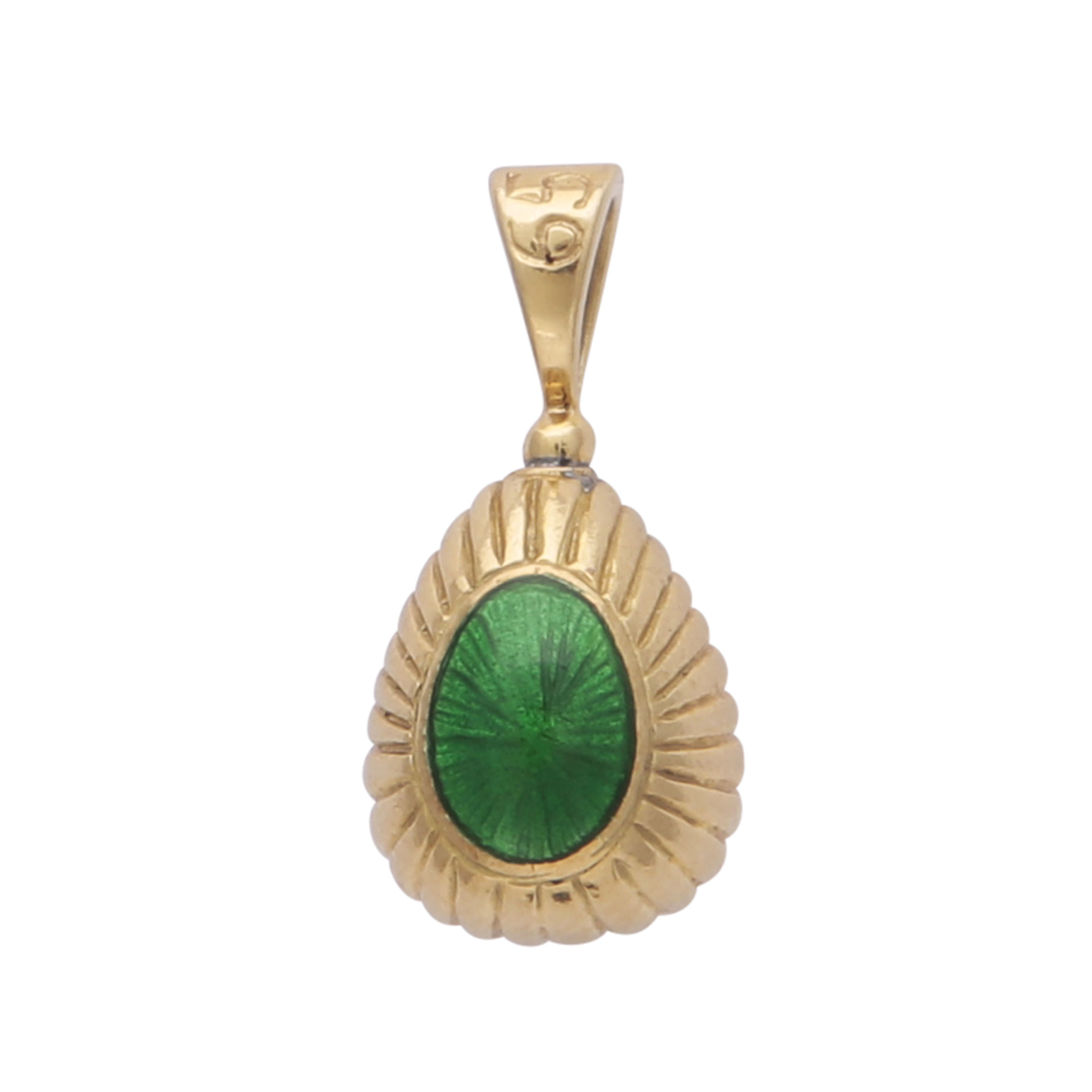Los 168 - SARAH FABERGE A contemporary enamelled egg pendant in 18ct yellow gold by Sarah Faberge, designed as