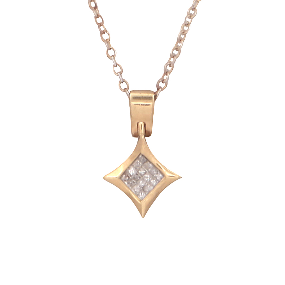 A diamond pendant in 14ct yellow gold the concave diamond shaped body set with sixteen princess