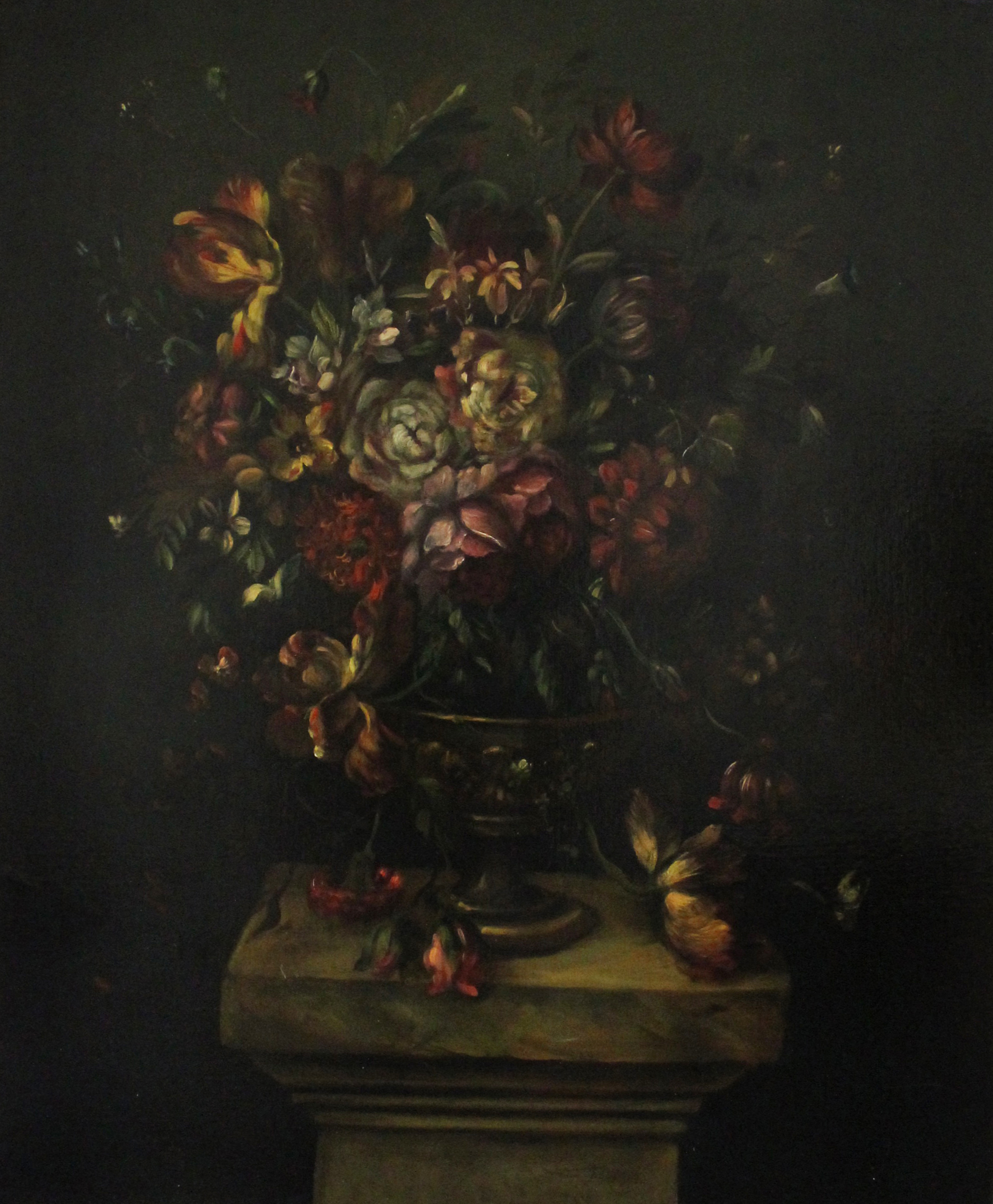 Los 293 - Jean-Baptiste Monnoyer (probably) A still life of assorted flowers in a vase on a stone pedestal