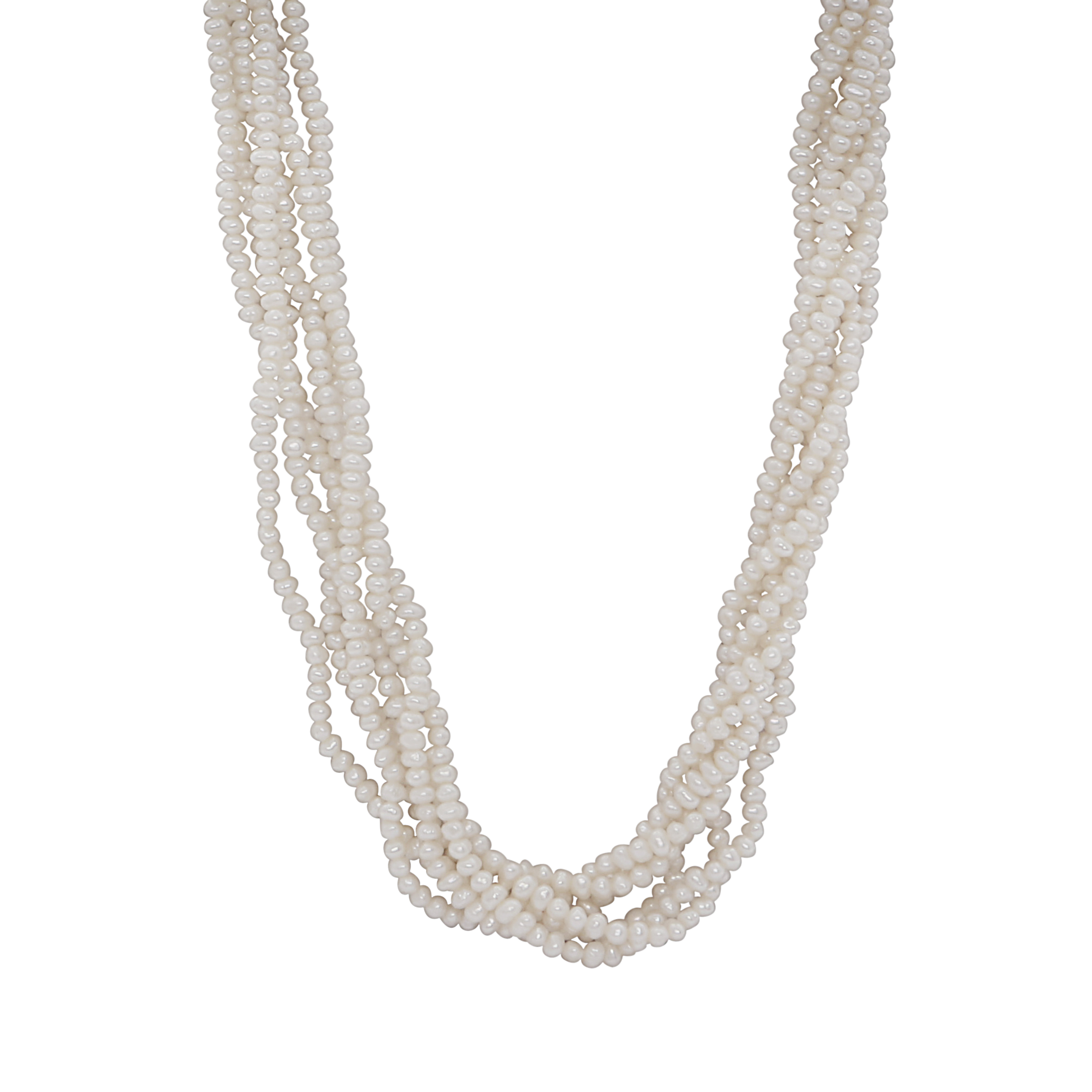 Los 181 - A cultured pearl necklace comprising six strands of pearls intertwined around one another with