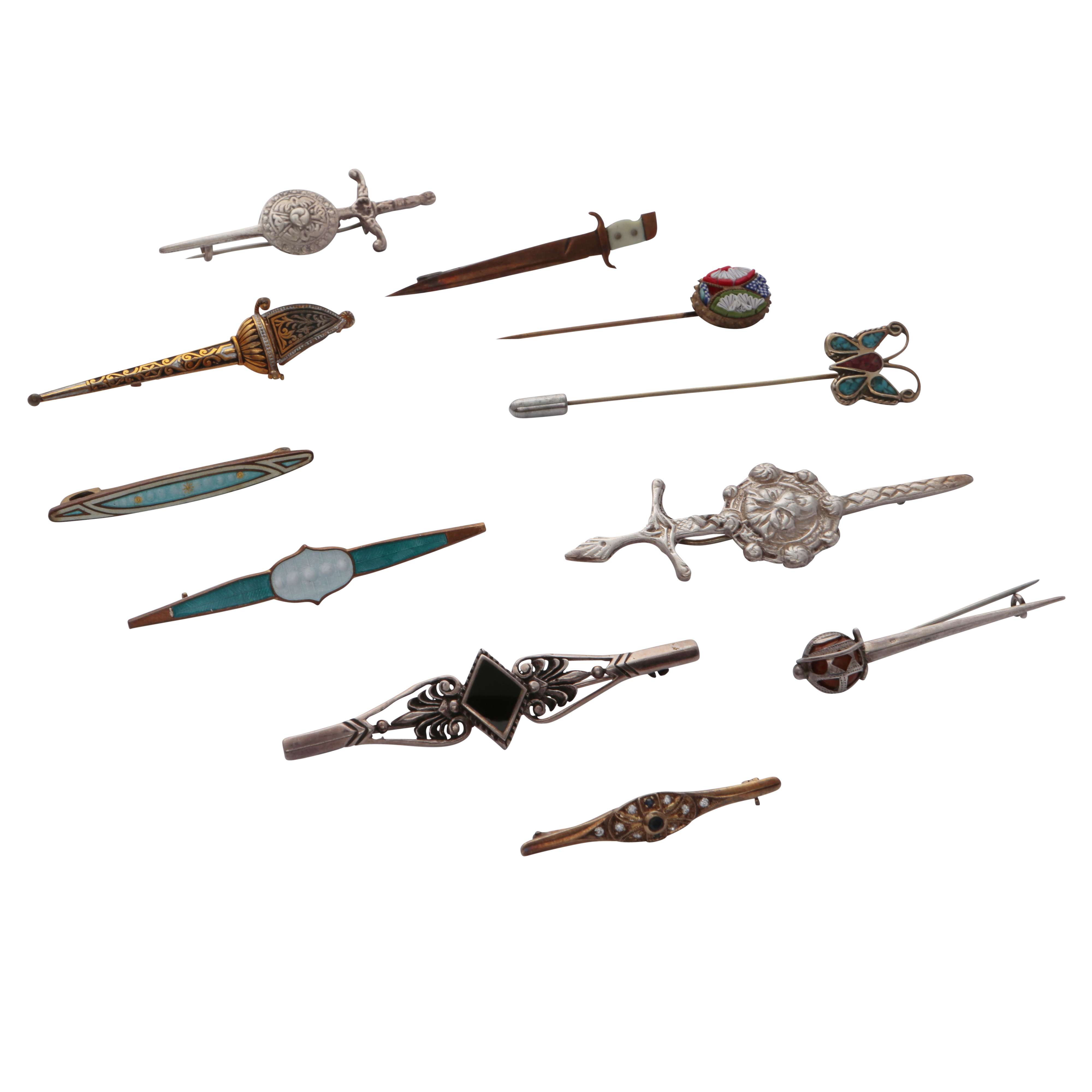 Los 156 - A collection of antique and vintage brooches and tie pins to include five silver brooches and one