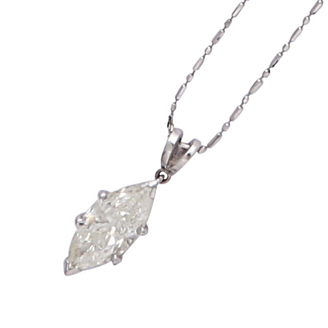 Los 209 - A solitaire diamond pendant and chain in 14ct white gold claw set with a marquise cut diamond