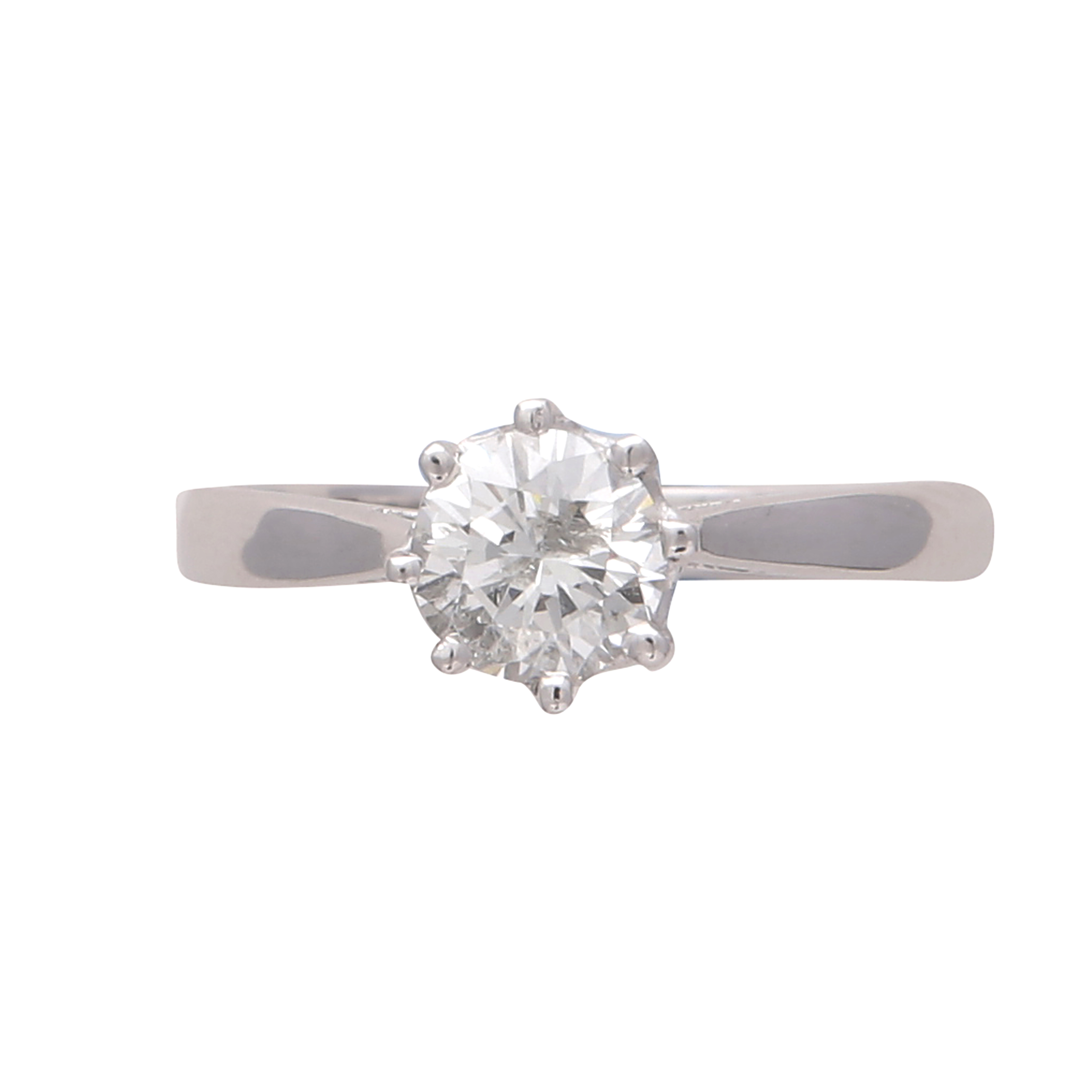Los 184 - A solitaire diamond engagement ring in 18ct white gold the claw set round cut diamond weighing