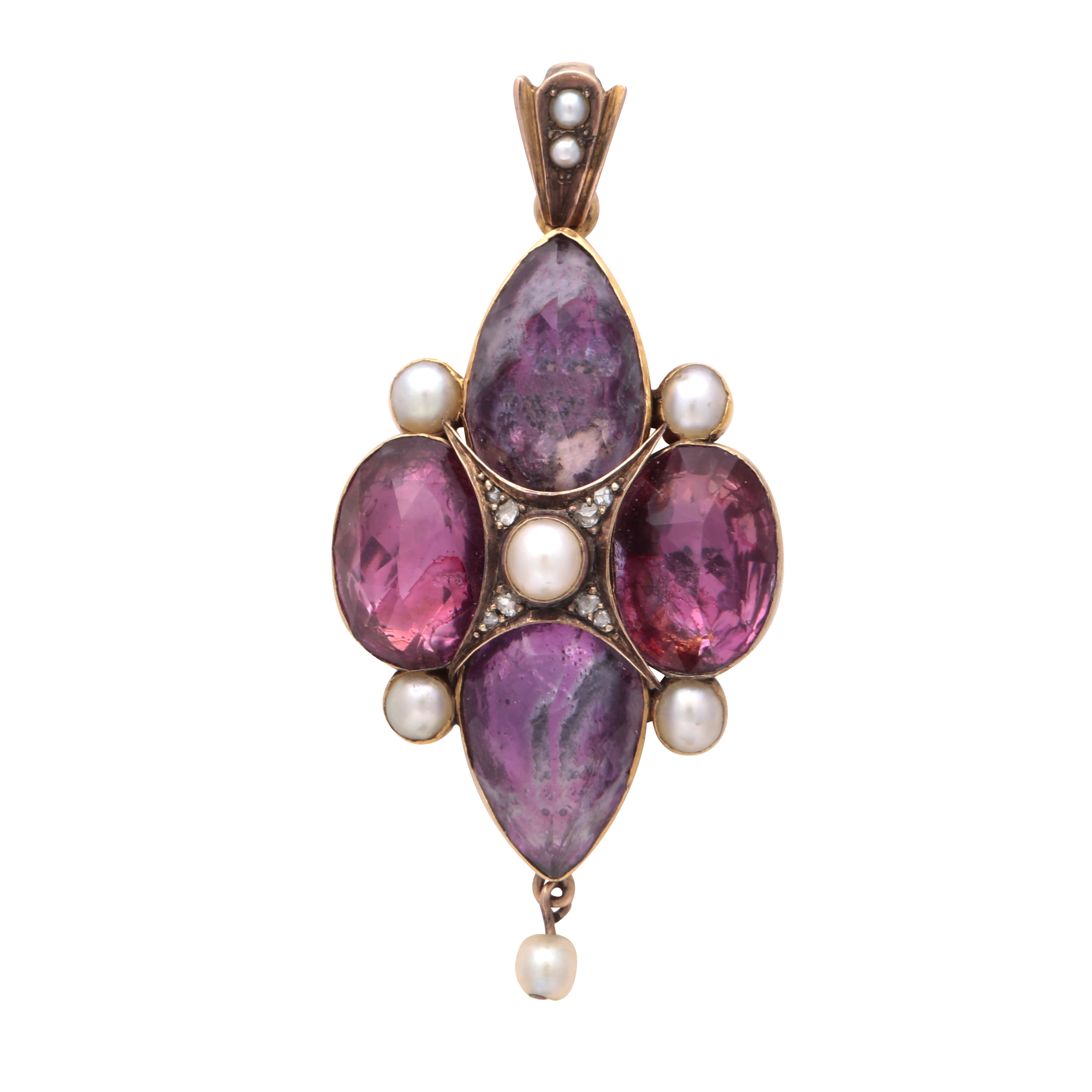 Los 188 - An antique Georgian pink tourmaline / topaz, pearl and diamond pendant set with four large variously