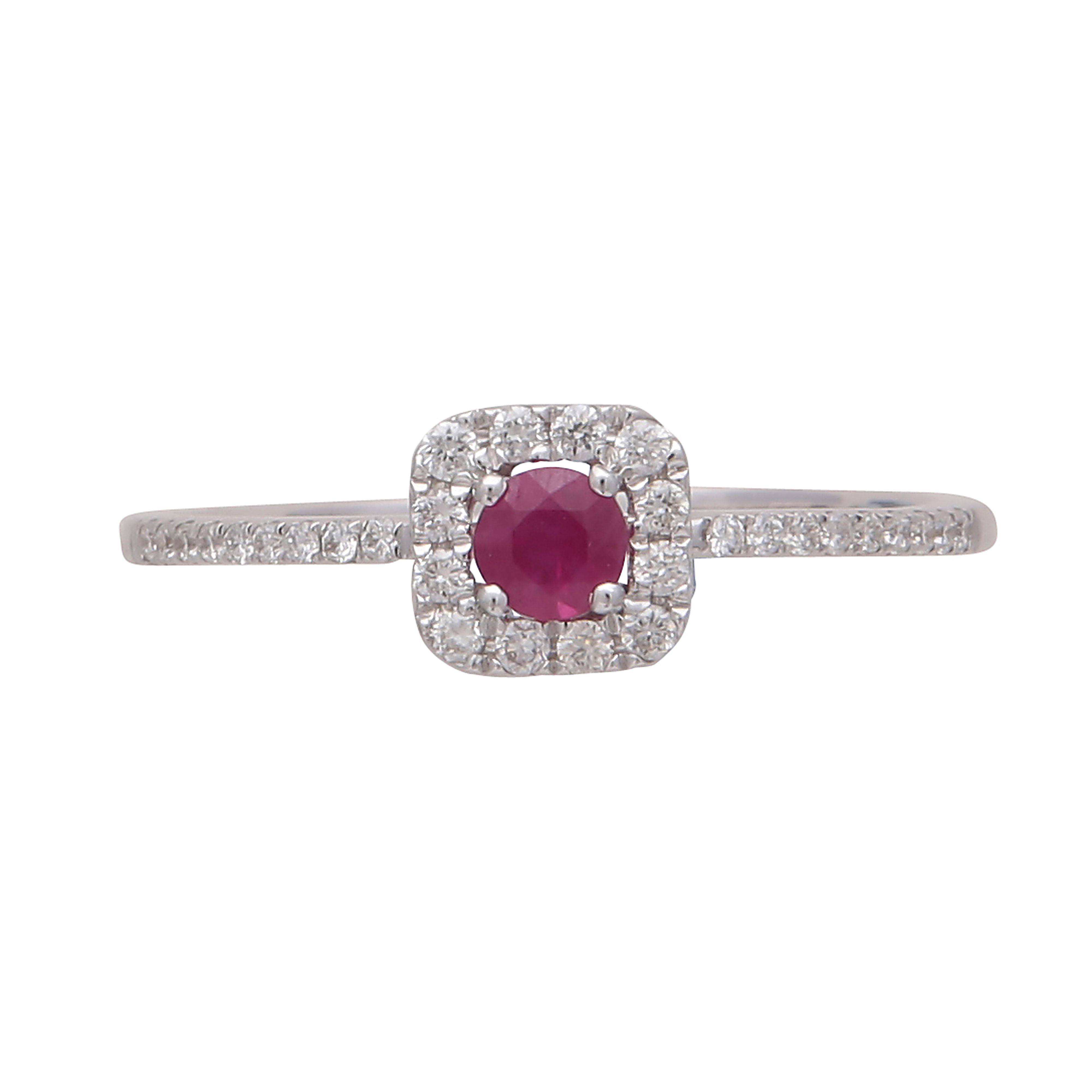 Los 190 - A ruby and diamond cluster ring in 18ct white gold the claw set round cut ruby surrounded by a