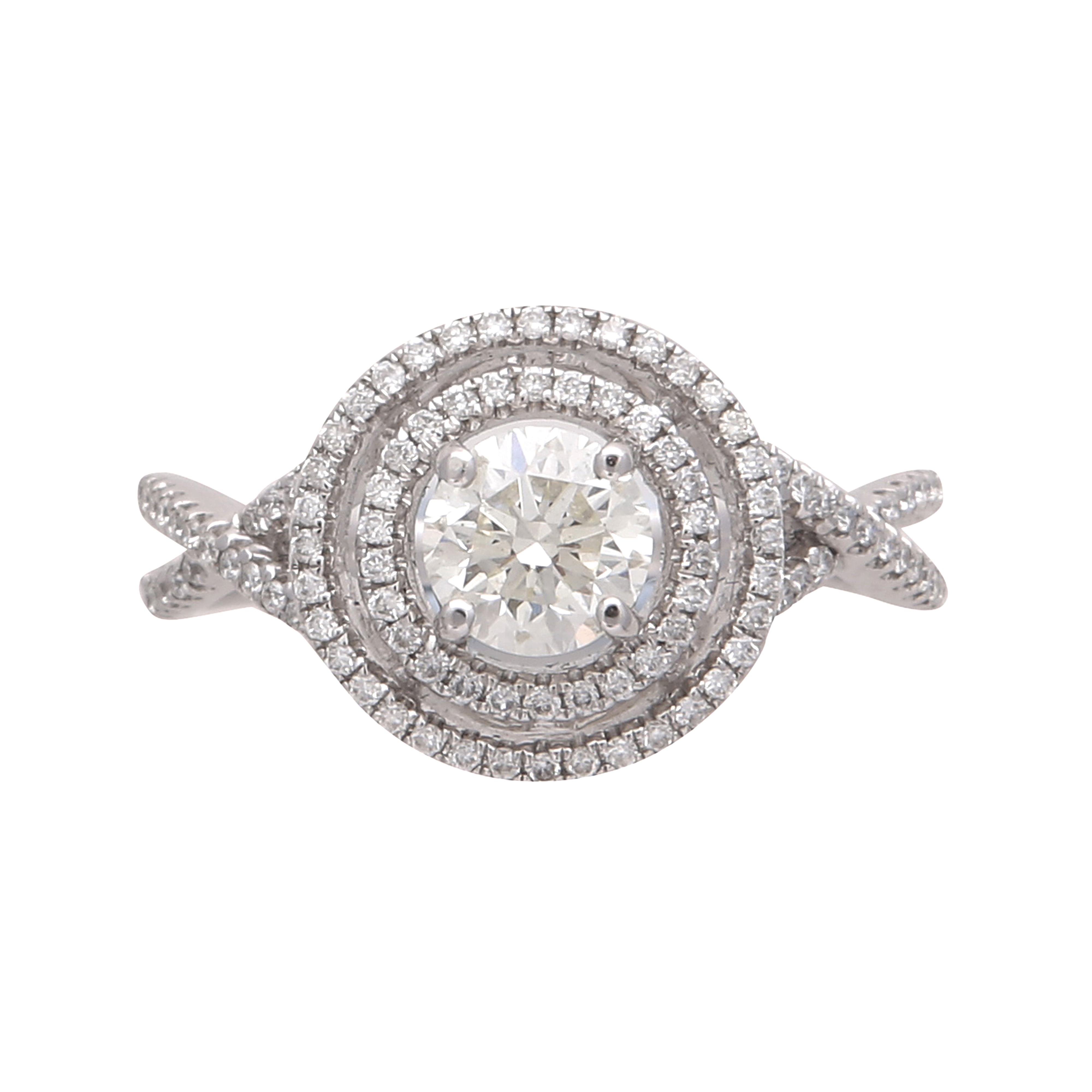 Los 191 - A solitaire diamond halo ring in 18ct white gold, the claw set round cut diamond weighing