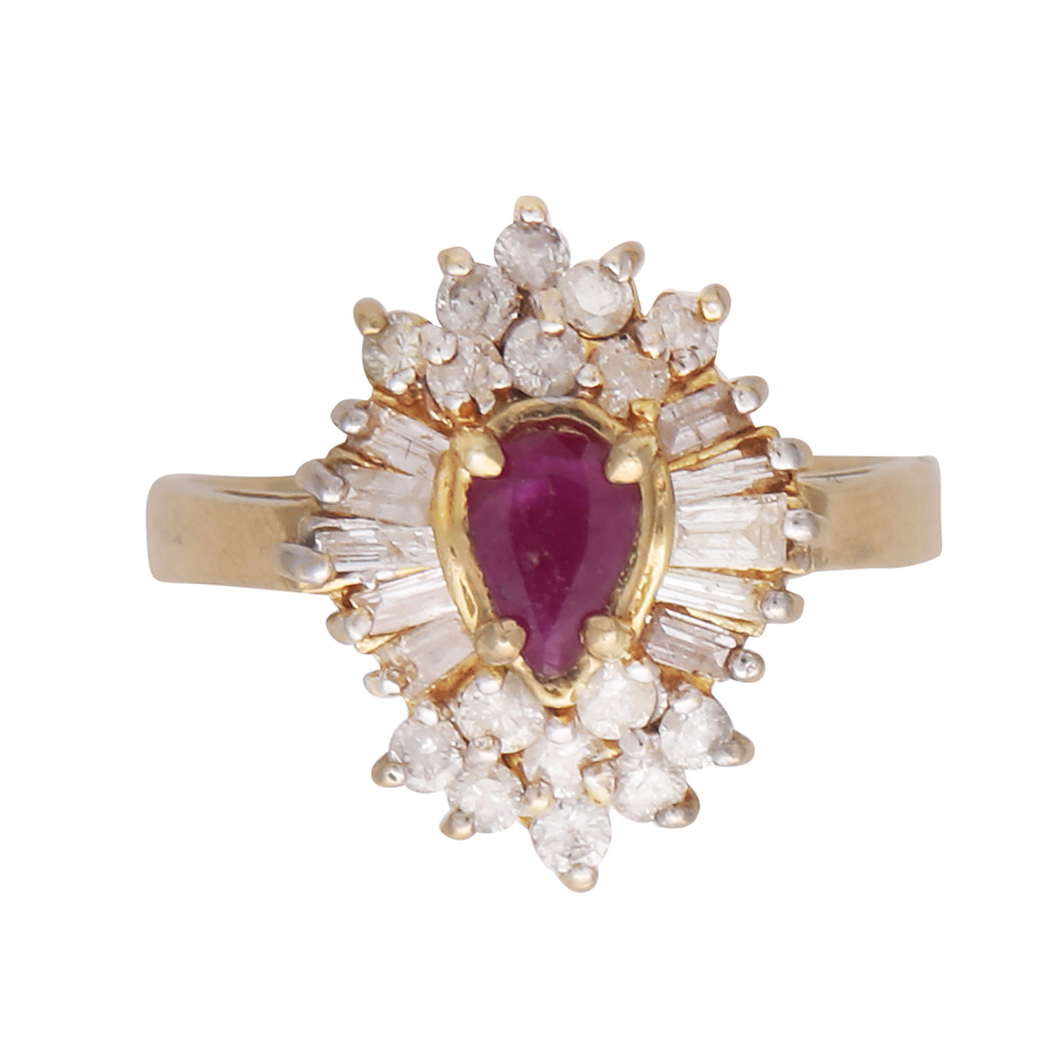Los 189 - A ruby and diamond cluster ring in 14ct yellow gold the pear shaped ruby claw set, surrounded by a