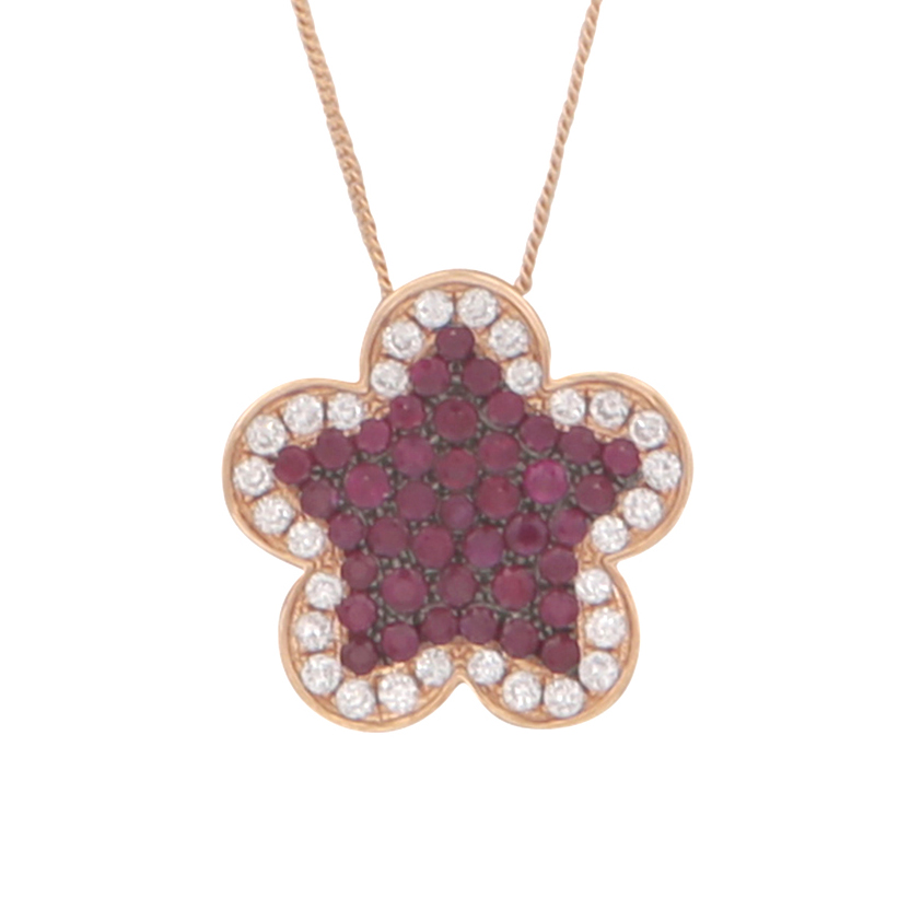 Los 187 - A ruby and diamond pendant and chain 18ct yellow gold designed as a five petal flower set with a