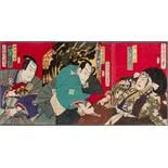 TOYOHARA KUNICHIKA 豊原國周 (1835 - 1900) Original woodblock print. Japan, Yakusha-e triptych.
