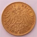 10 Mark, Deutschland 1907Prägemarke J. Verso Bremer Stadtwappen mit Perlkreis. Guter Zustand. Gew.
