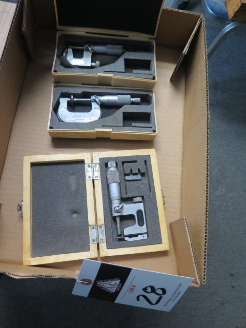 """Mitutoyo 0-1"""" Disc Mic and (2) Mitutoyo and Import 0-1"""" Anvil Mics (SOLD AS-IS - NO WARRANTY)"""