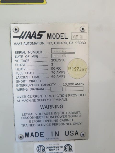 1998 VF-2 4-Axis CNC Vertical Machining Center s/n 15521 w/ Haas Controls, Hand Wheel, (SOLD AS IS) - Image 20 of 20