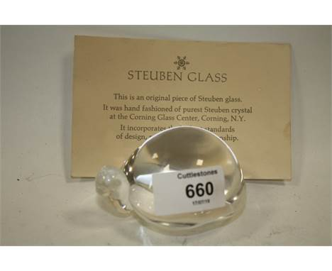 A SIGNED STEUBEN GLASS TORTOISE PAPER WEIGHT