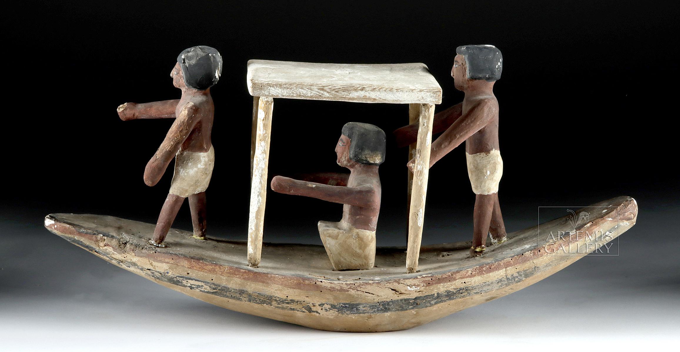 Lot 10 - Egyptian New Kingdom Wooden Boat & Boatmen