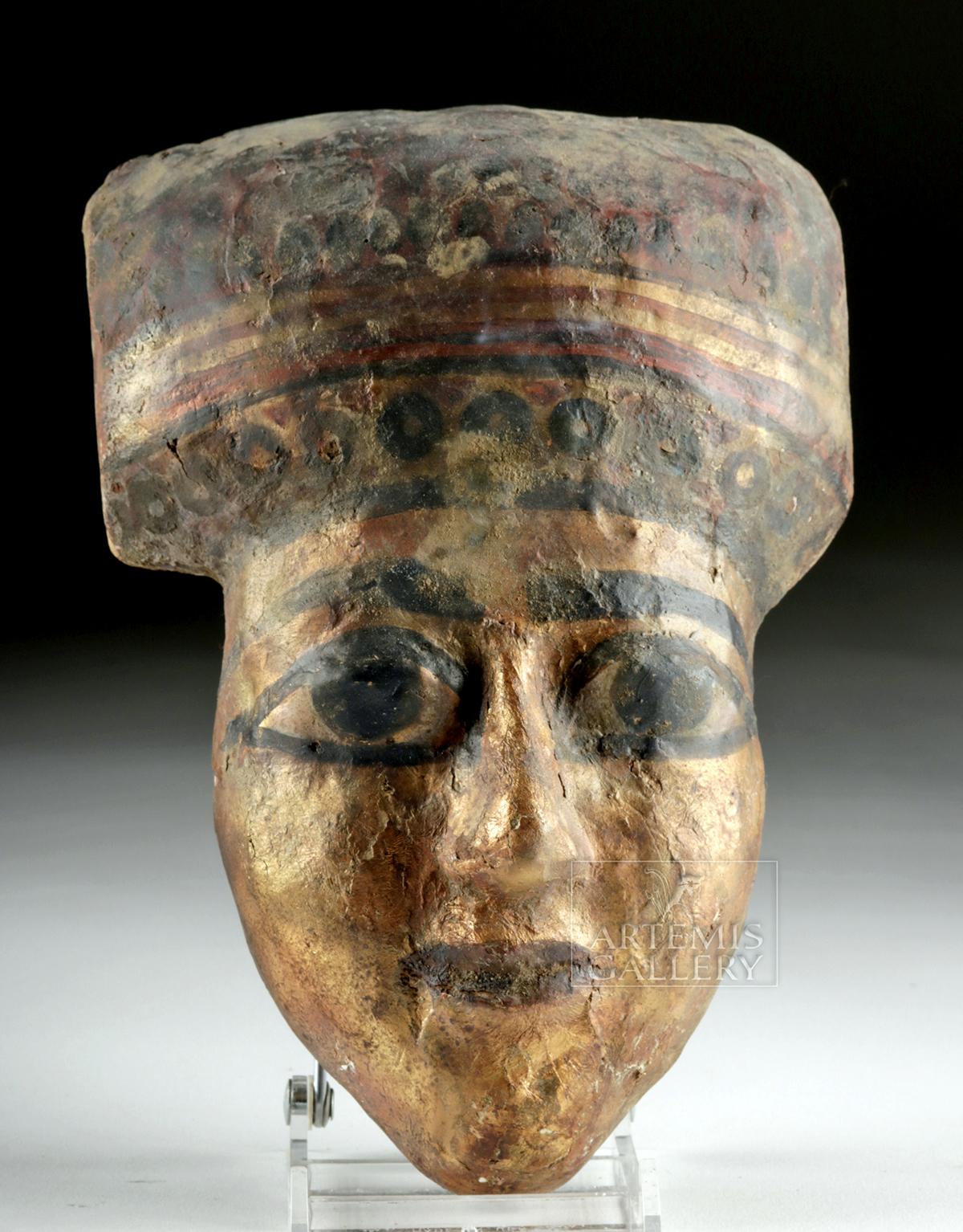 Lot 14b - Egyptian Ptolemaic Gilt Gesso / Wood Mummy Mask