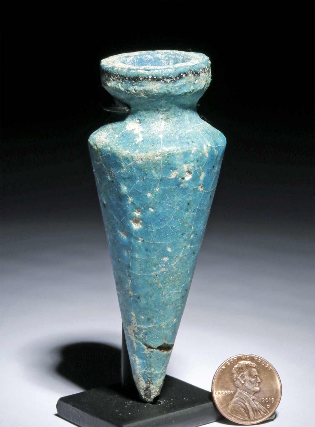 Lot 9 - Rare Egyptian Glazed Faience Plumb Bob Votive