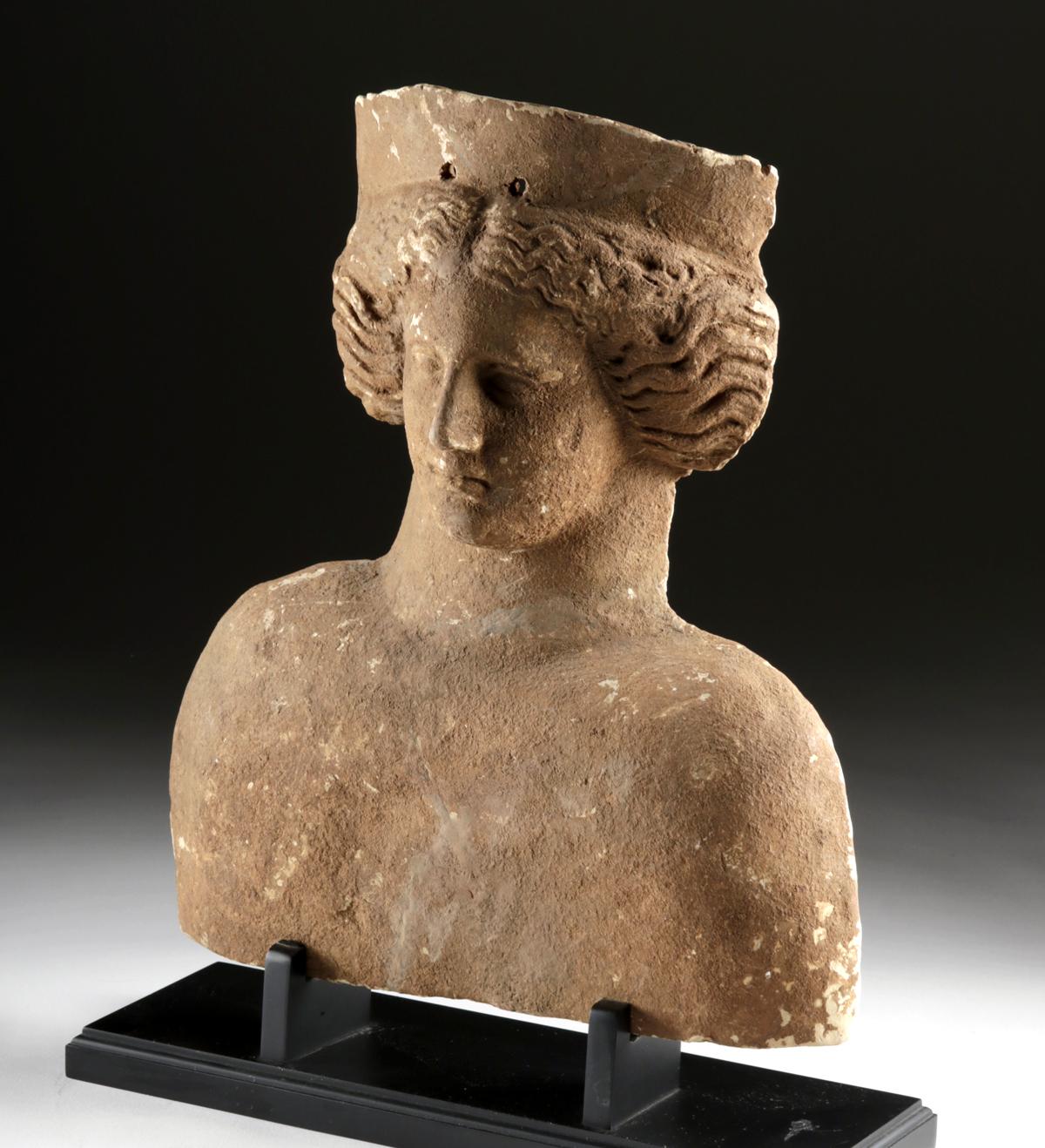 Lot 20d - Large Archaic Greek Terracotta Protome - Goddess