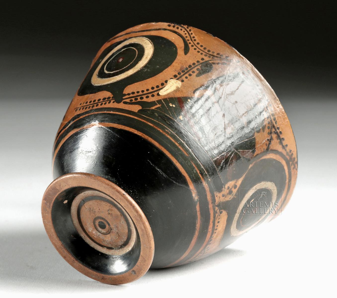 Lot 25a - Attic Black-Figure Kyathos - Eyes, Dionysos, Sphinxes