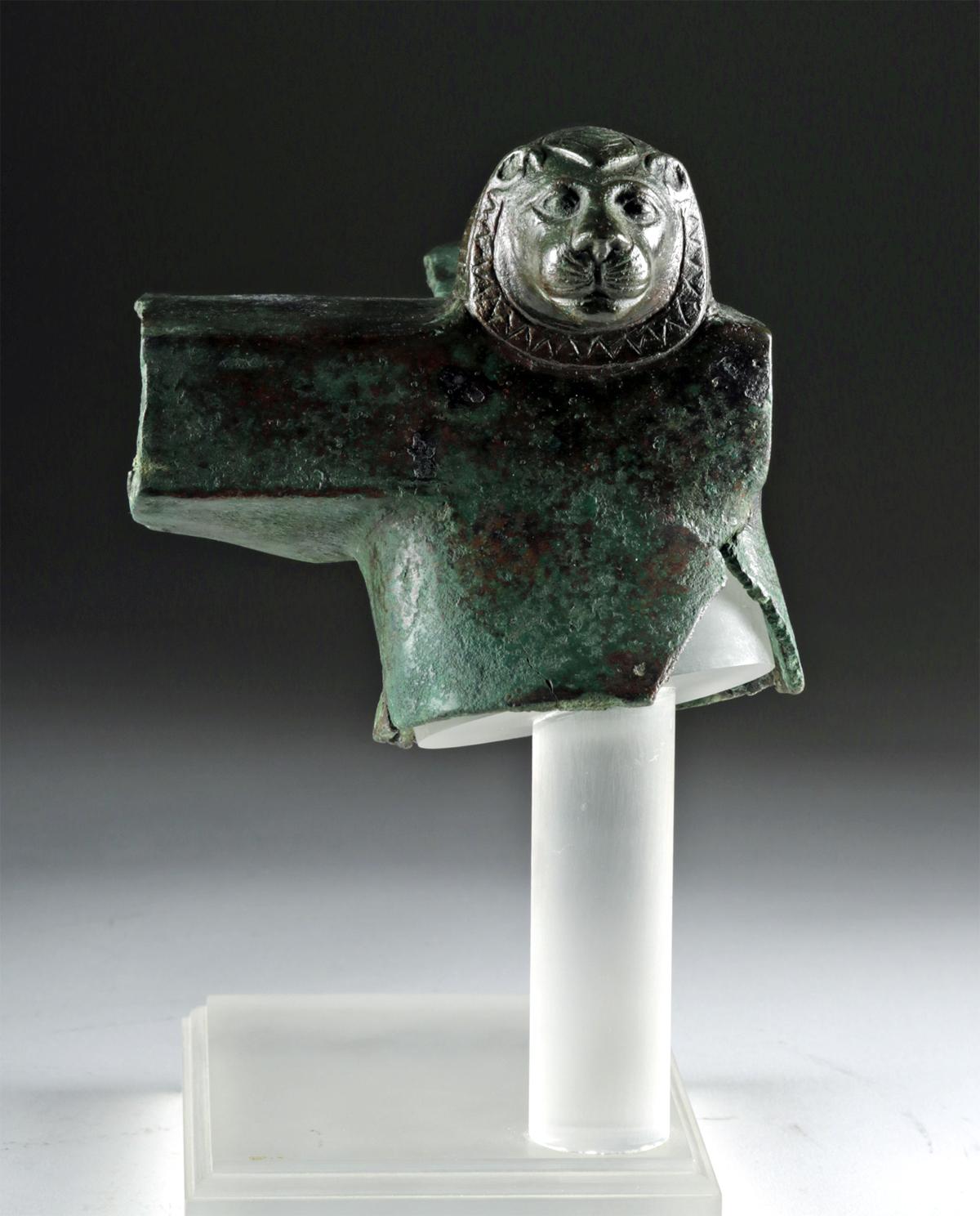 Lot 18 - Egyptian Copper Lion Attachment, ex-Sotheby's