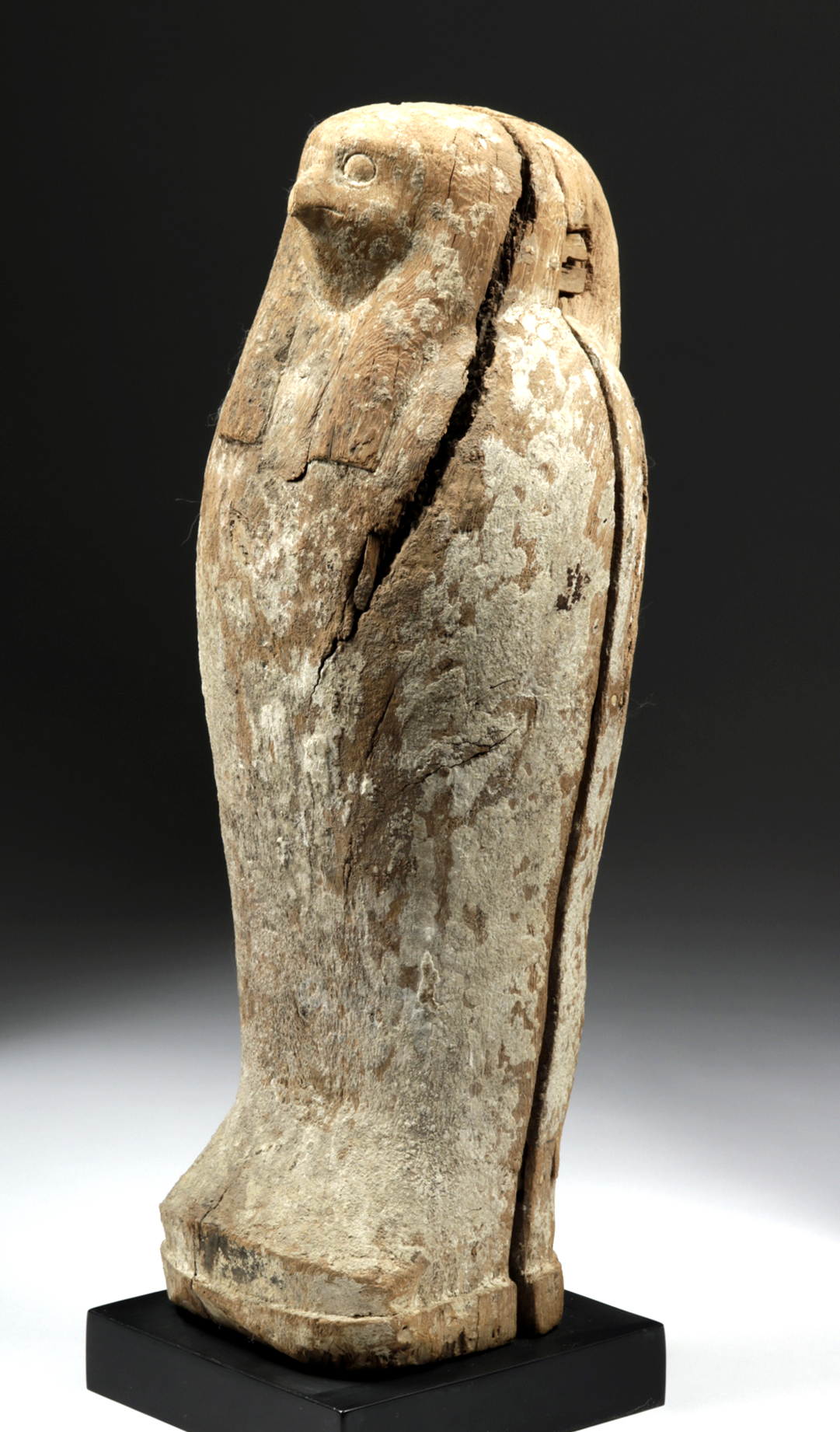 Lot 16 - Rare Egyptian Wood Sarcophagus of Falcon / Horus
