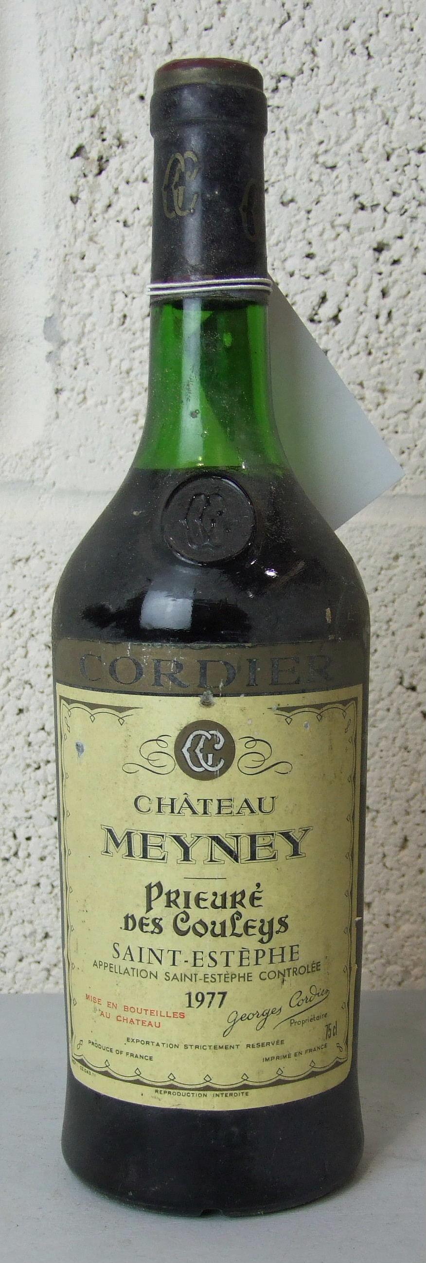 Lot 15 - France, Chateau Meyney Prieuré des Couleys, 1977, top shoulder, good label, one bottle, (1).