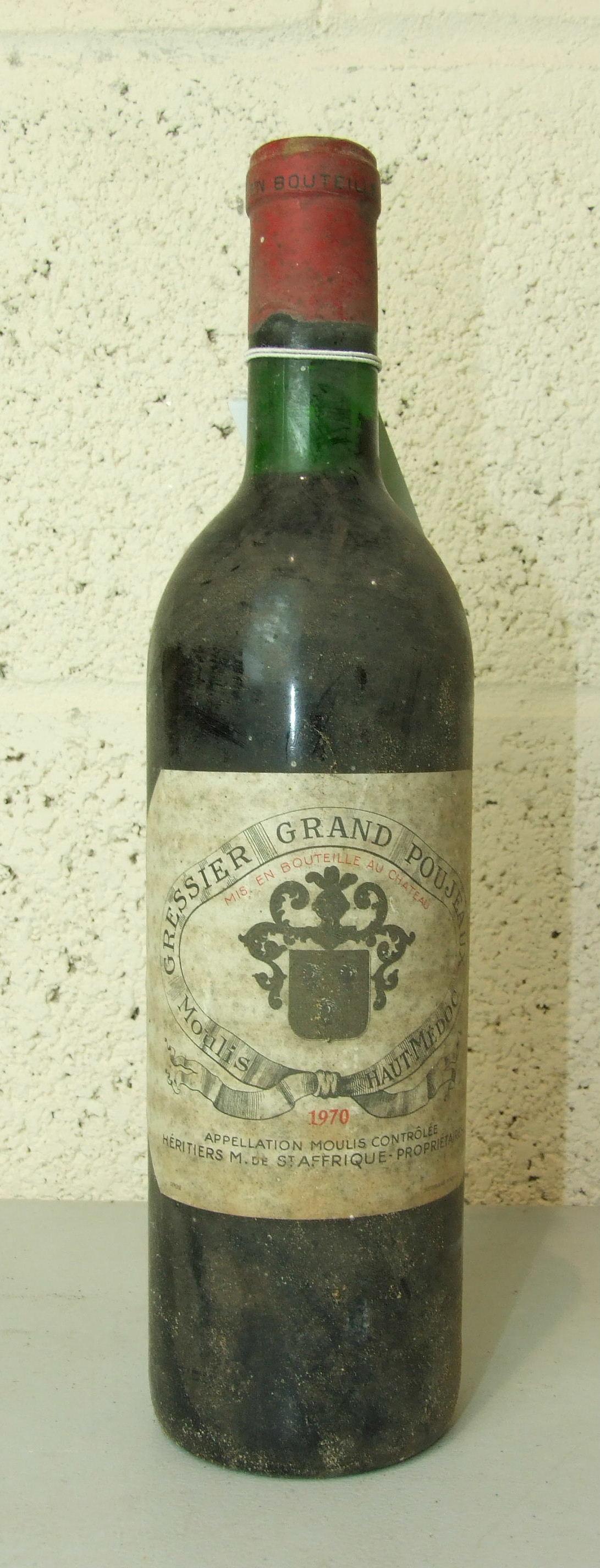 Lot 9 - France, Gressier Grand Poujeaux 1970, top shoulder, good label, one bottle, (1).