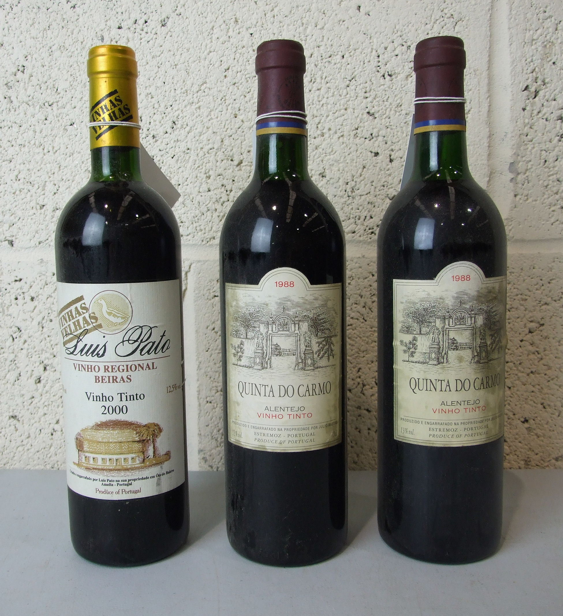 Lot 34 - Portugal, Quinta Do Carmo 1988, two bottles and Luis Pato 2000, one bottle, (3).