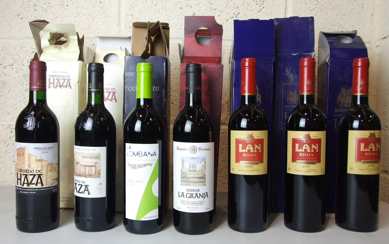 Lot 42 - Spain and Portugal, Bodegas Lan, 1999, one bottle, 2000 two bottles; Condado de Haza 1999, one