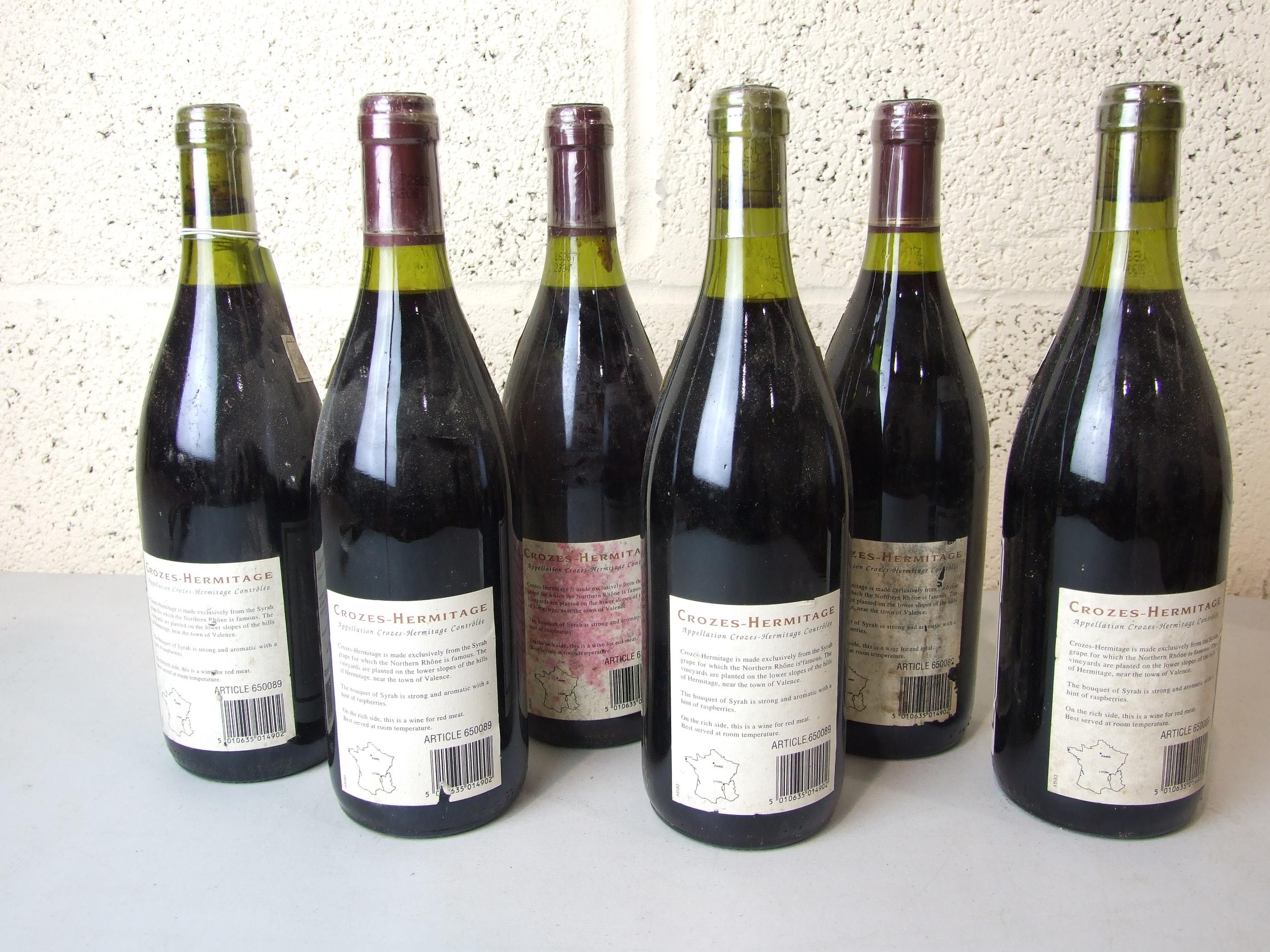 Lot 21 - France, Crozes Hermitage, George Badriou 1994, high shoulder, good labels, six bottles, (6).
