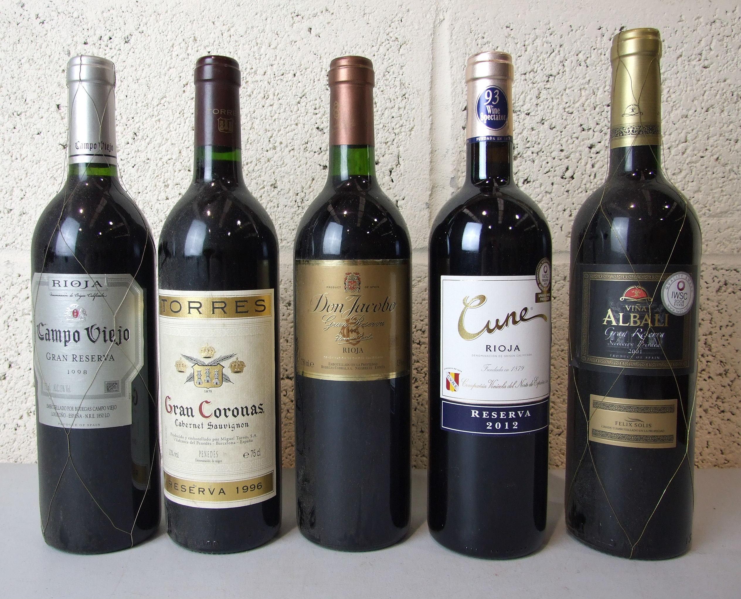 Lot 39 - Spain, Rioja, four bottles, mixed and Penedès Gran Coronas Reserva 1996, one bottle (5).