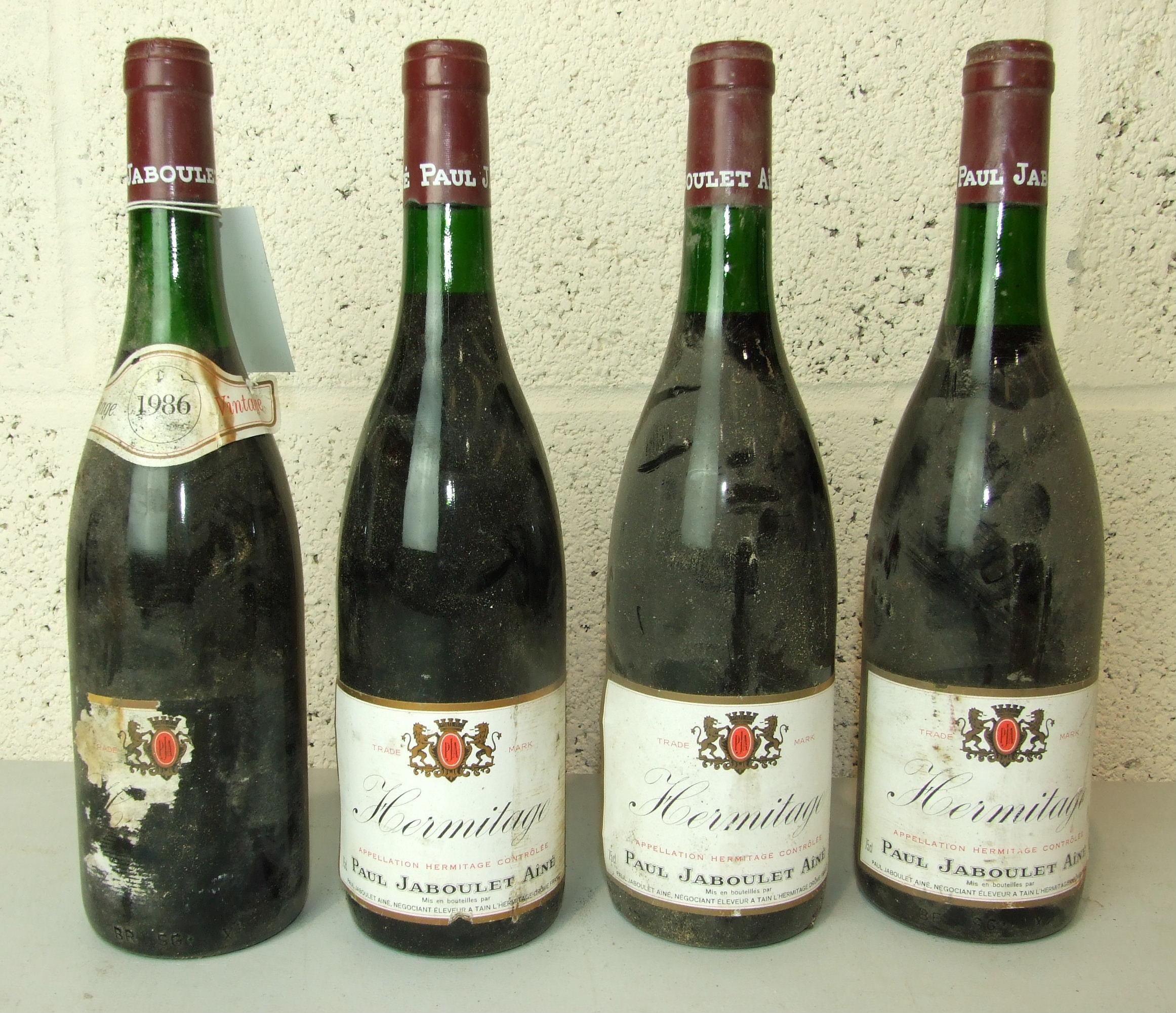 Lot 10 - France, Hermitage Jaboulet 1986, high shoulder, damaged labels, four bottles, (4).