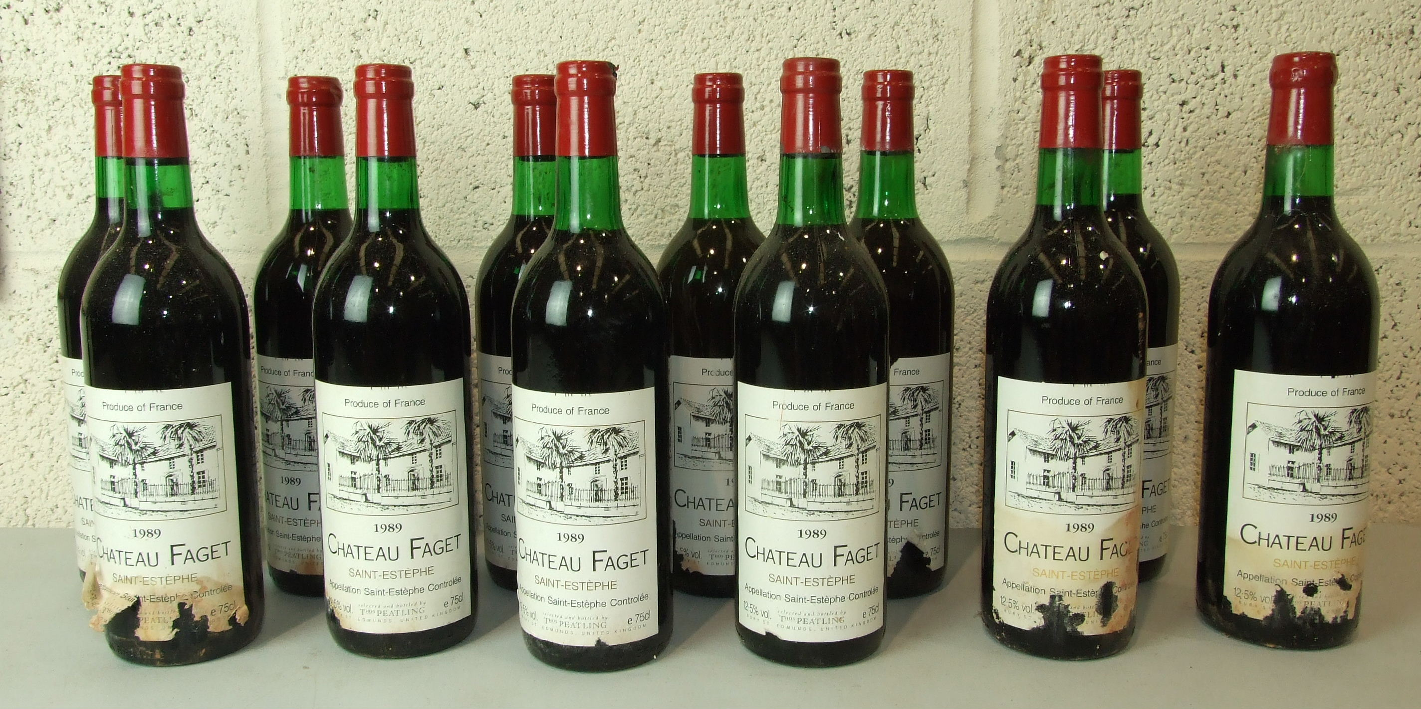 Lot 5 - France, Chateau Faget Saint Estephe 1989, high shoulder, mainly good labels, twenty-six bottles, (