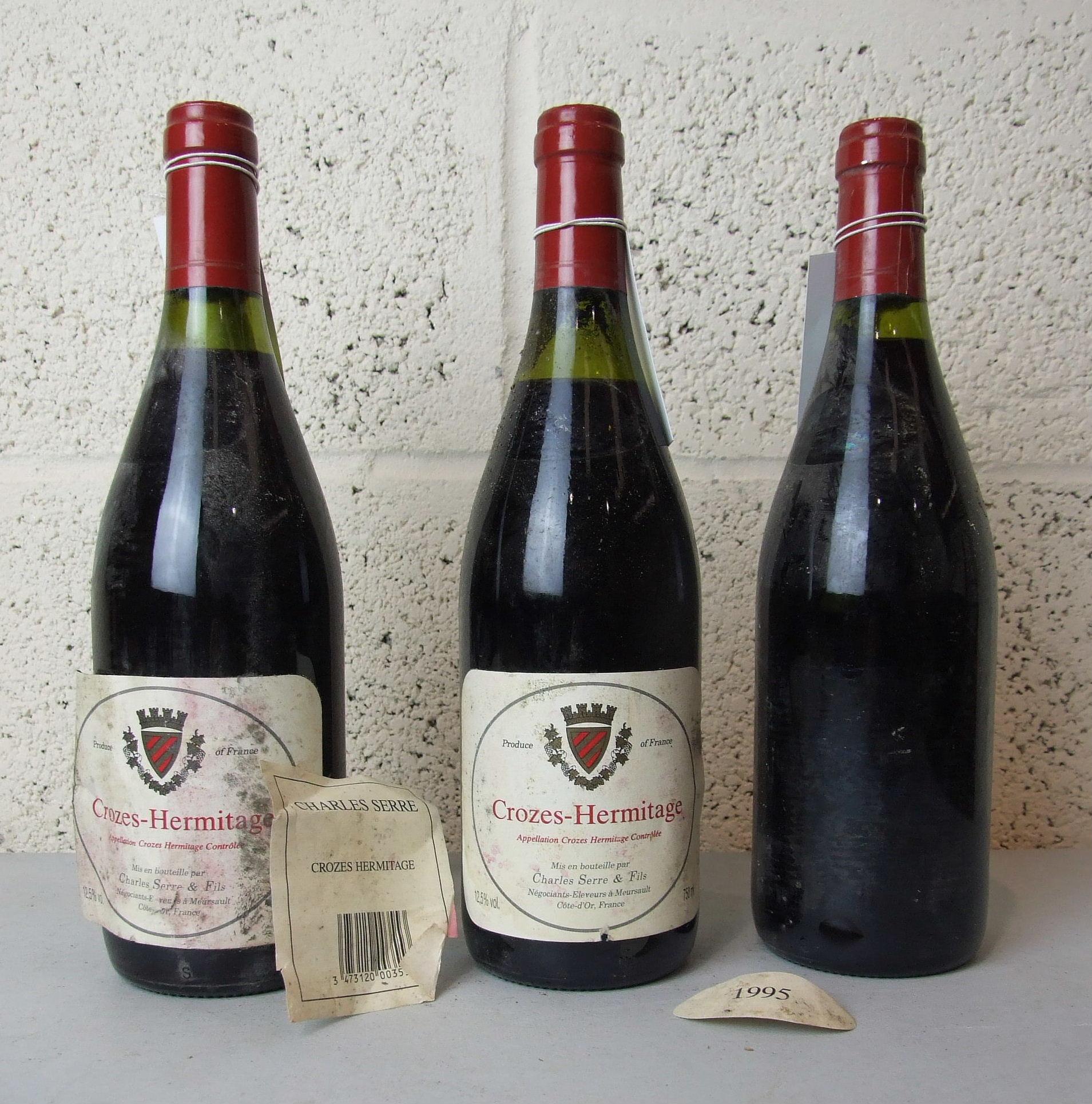 Lot 22 - France, Crozes Hermitage, Charles Serre 1995, low neck levels, one label damaged, three bottles, (