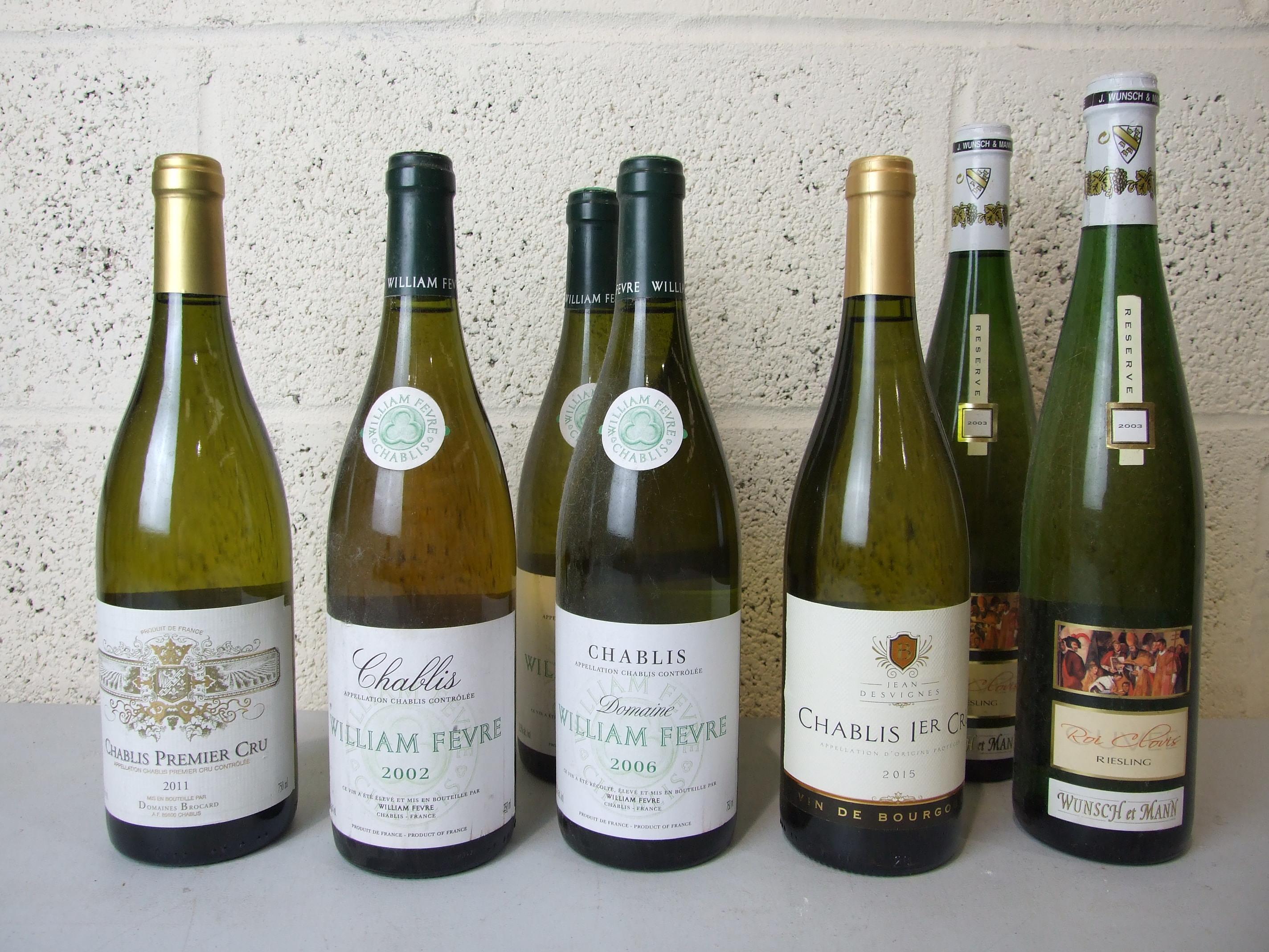 Lot 55 - France, Chablis, five bottles of various vintages; Germany, Reisling 2003, two bottles, (7).
