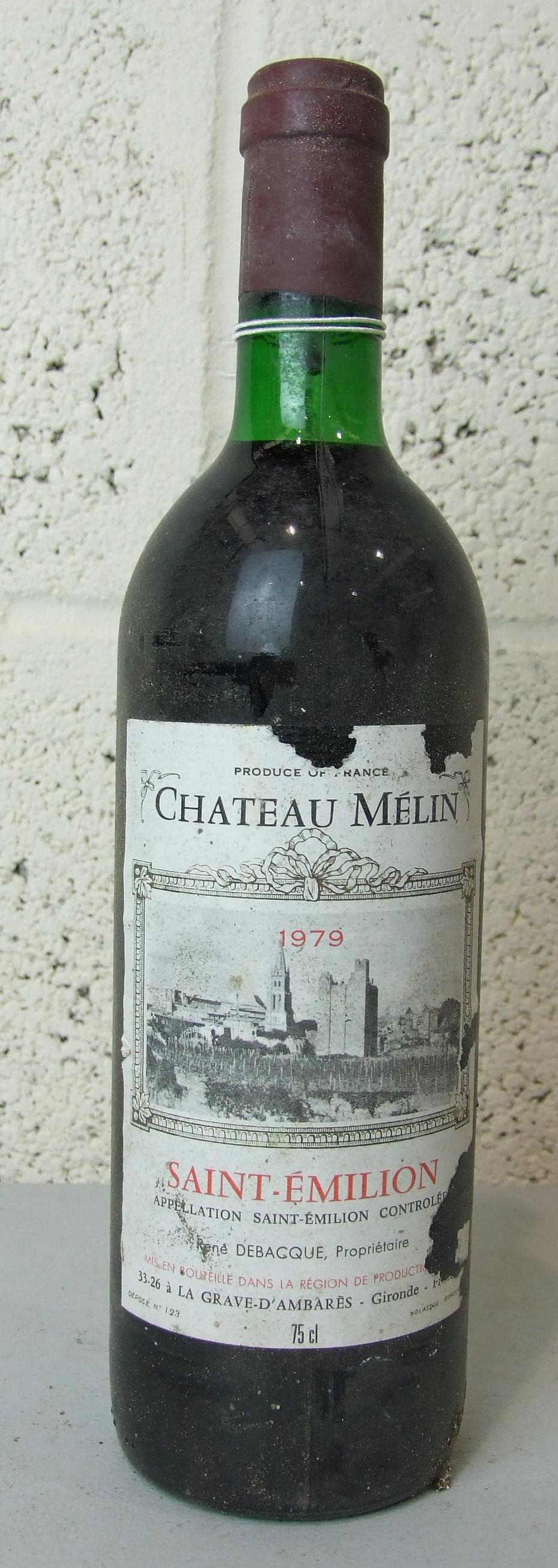 Lot 13 - France, Chateau Mélin St Emilion 1979, high shoulder, damaged labels, one bottle, (1).