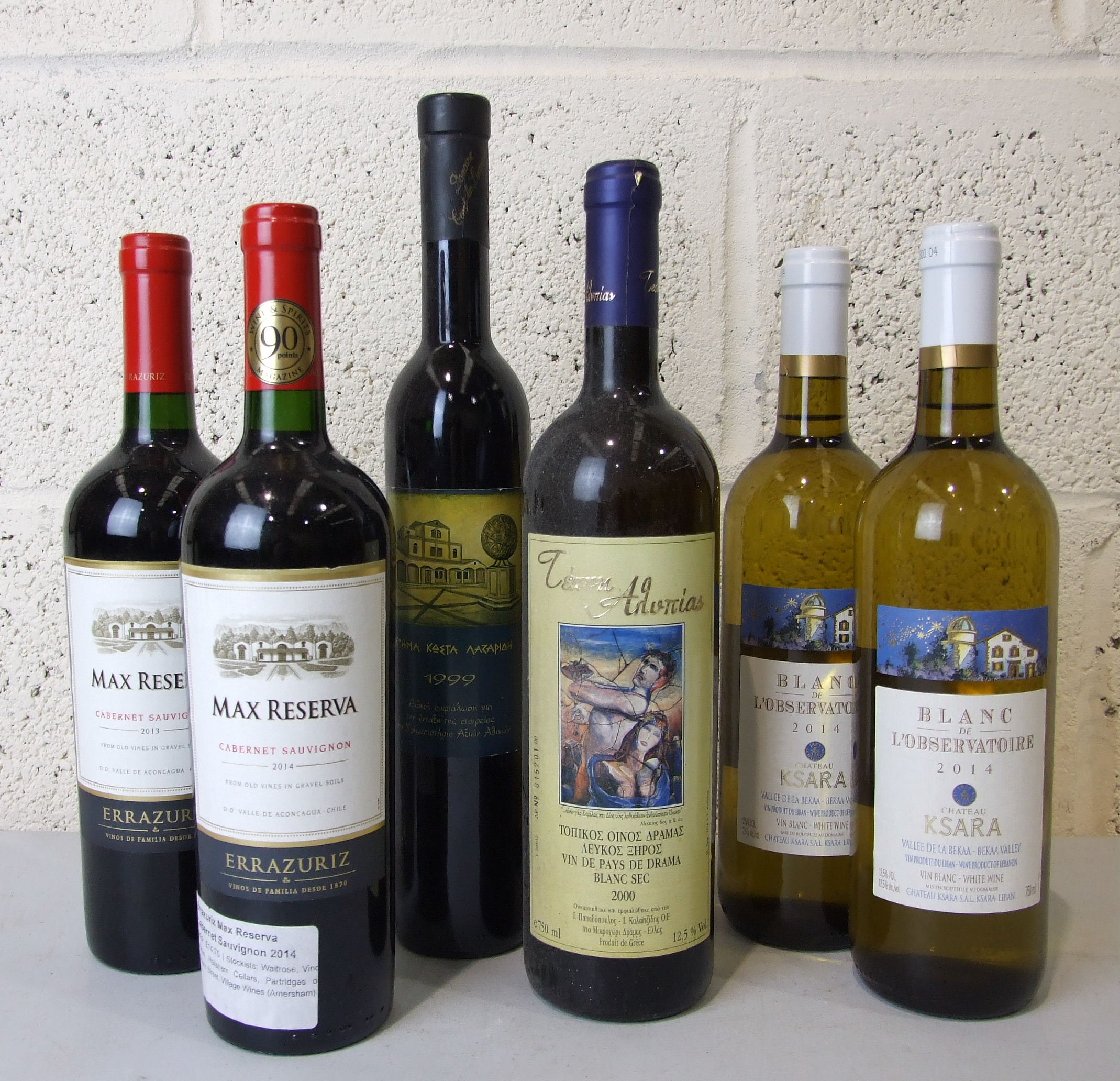 Lot 58 - Chile, Errazuriz Max Reserva 2013/14, two bottles, and, Greece, four bottles, mixed, (6).